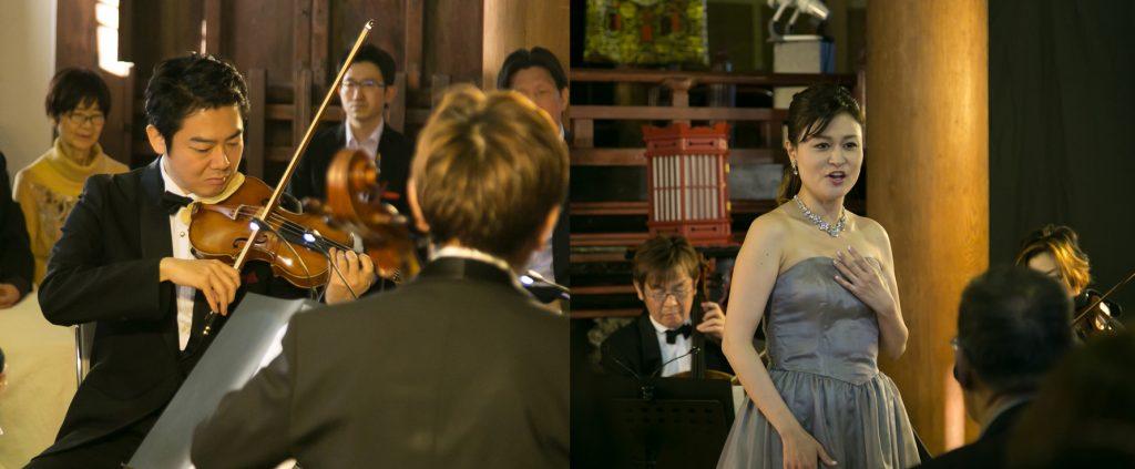 コンサートマスターの近藤薫さん(左)と、ソプラノ歌手・鷲尾麻衣さん(右)。