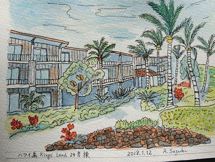 日課の散歩をしながら描かれた、鈴木様のスケッチ画