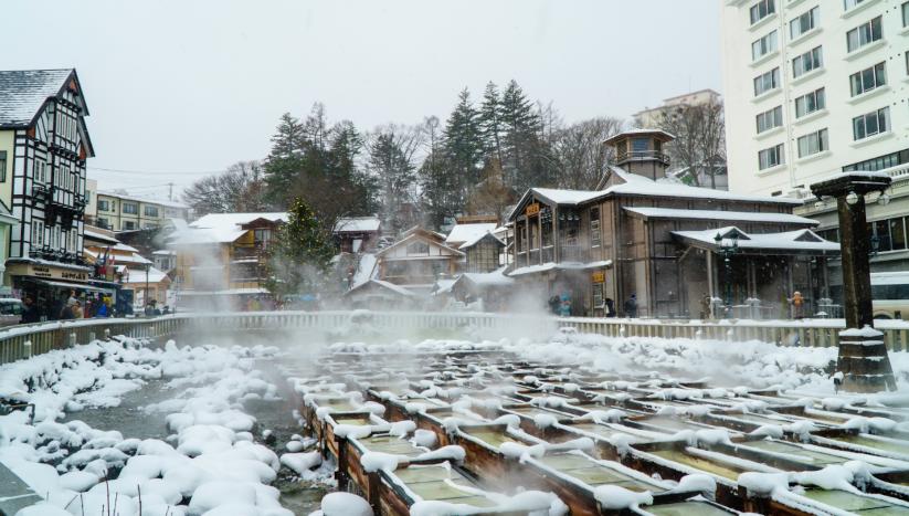 温泉でゆったり過ごす冬